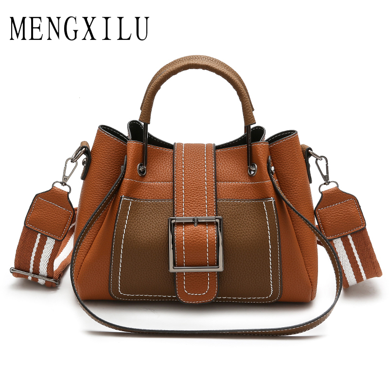 MENGXILU Women Handbags Patchwork Woman Crossbody Bags Fashion Ladies Buckets Bag High Quality PU Leather Female Casual Tote Bag