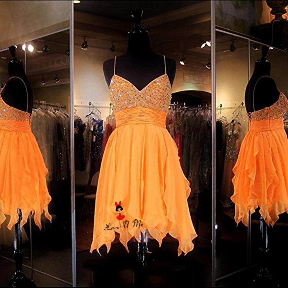 Robe de fête Curto Graduacion Cortos Orange modeste robes de retour courte perle gland en mousseline de soie pas cher fête robe de bal sangle