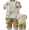 Anlencool Clothing baby boy female child sports baby clothes spring and autumn three pieces set open-crotch pants free shipping