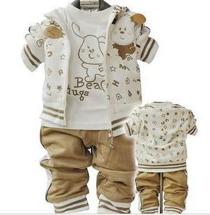 Anlencool esportes roupas de bebê Roupas de bebê menino criança do sexo feminino primavera e no outono três peças definir calças open-virilha livre grátis