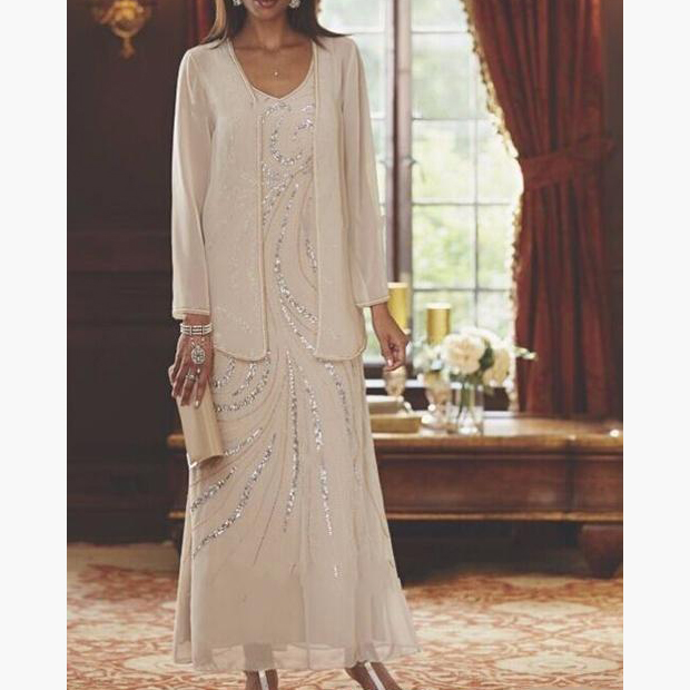 Chiffon V Neck Two Pieces Beading Ankle Length Mother Of The Bride Dress Long Sleeves With Jacket Plus Size Vestidos De Novia