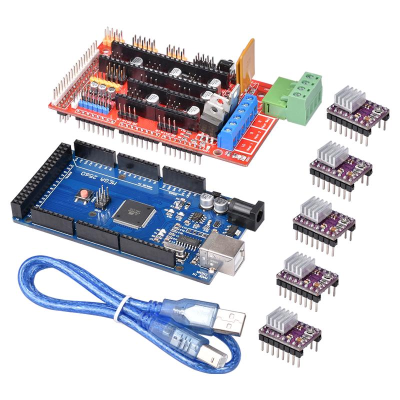 Ramps 1.4 Kit 3D Printer Kit 1PC Mega 2560 R3 + 1PC RAMPS 1.4 Control Panel+ 5PCS DRV8825 Stepper Motor Driver Carrier Reprap
