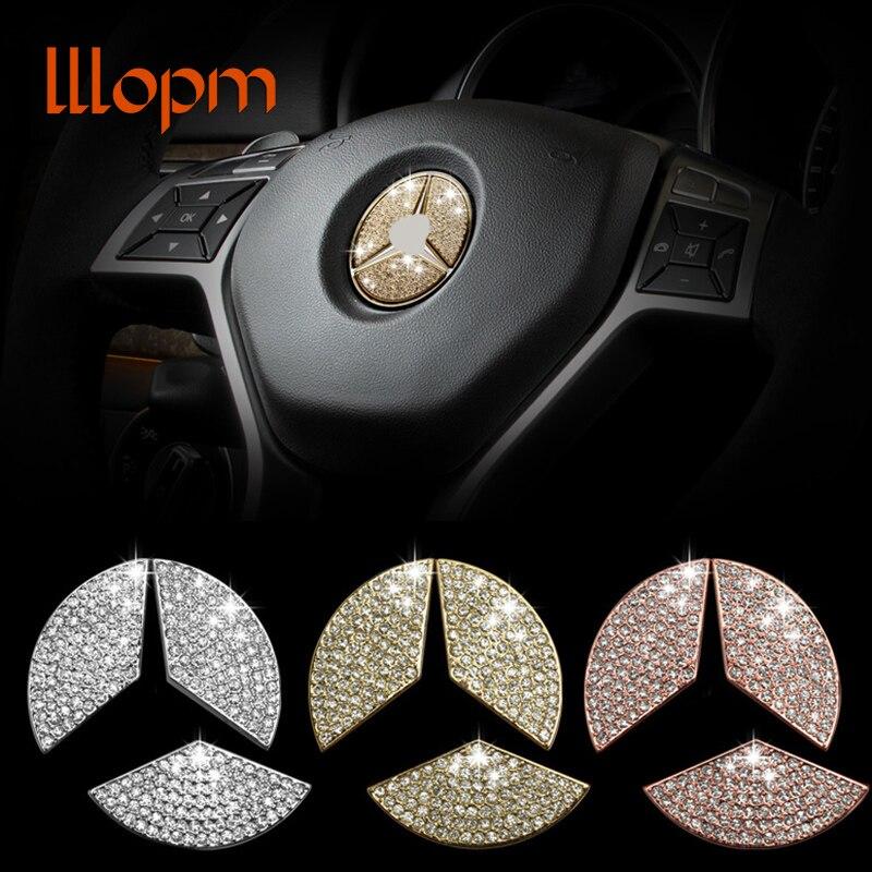 Car steering wheel emblem 3D sticker Car Styling for Mercedes Benz A C E CLA GLA GLC GLE GLK GL ML Class  3 colors options