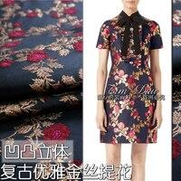 Autumn and winter three dimensional golden silk flower yarn dyed jacquard fabric high grade dress coat clothing cloth
