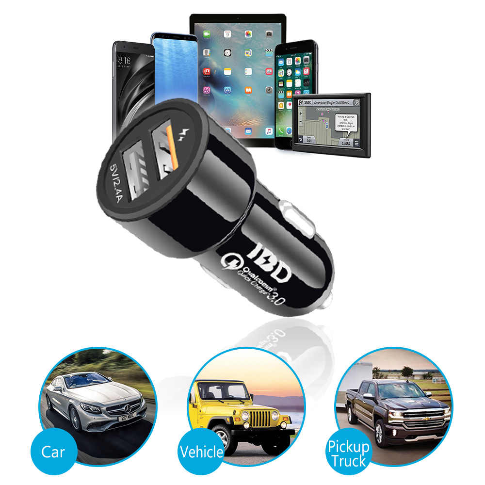 Cargador de coche IBD usb 3,0 cargador de coche Dual USB Cable de cargador de teléfono de carga rápida con Chip de carga rápida Qualcomm QC3.0 30 W
