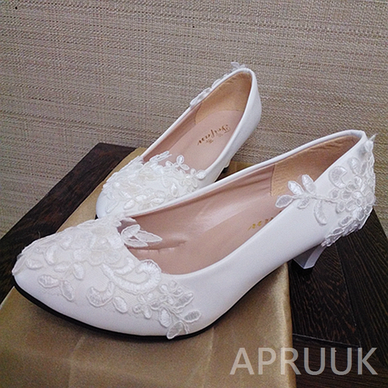 White lace pumps shoes for woman handmade lace wedding shoes bride bridal bridesmaid party dinner proms dress shoe