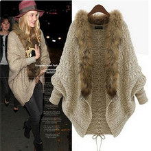 Fast Postage Knitted Wool Cardigan Trend Of European Version Bat Sleeve Fur Collar Sweater