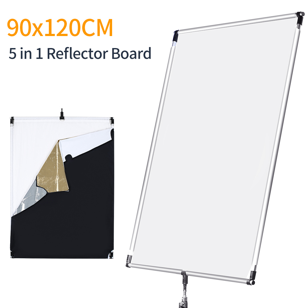 35in X 47in 90 X 120cm Sun Scrim Large 5in1 Black Silver Gold White Diffuser Reflector Aluminum Alloy Frame For Photography