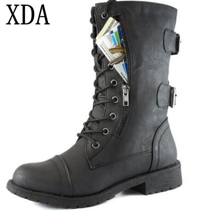 XDA 2018 High Quality fashion Women Boots British Style Classic Woman Martin Boots Cross Tied Decor low heel Zipper Boots F551