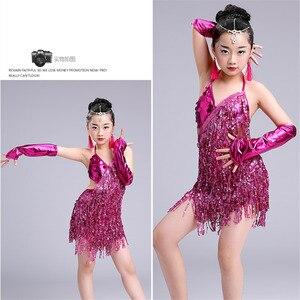 Image 5 - child kid children professional latin dance dress for girls ballroom dancing dresses for kids red sequin fringe salsa tassel