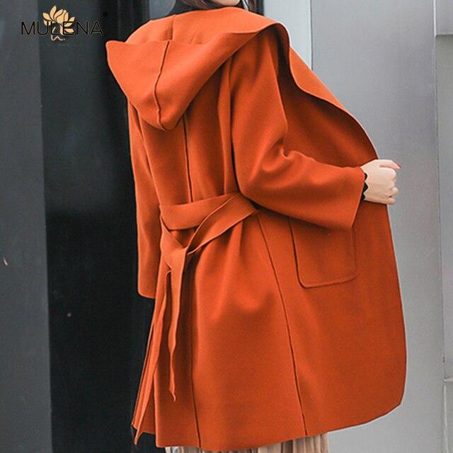 Mulena belt slim hat woolen coats womens solid collect waist Wool&Blends female office work wear elegant ladies outerwear autumn
