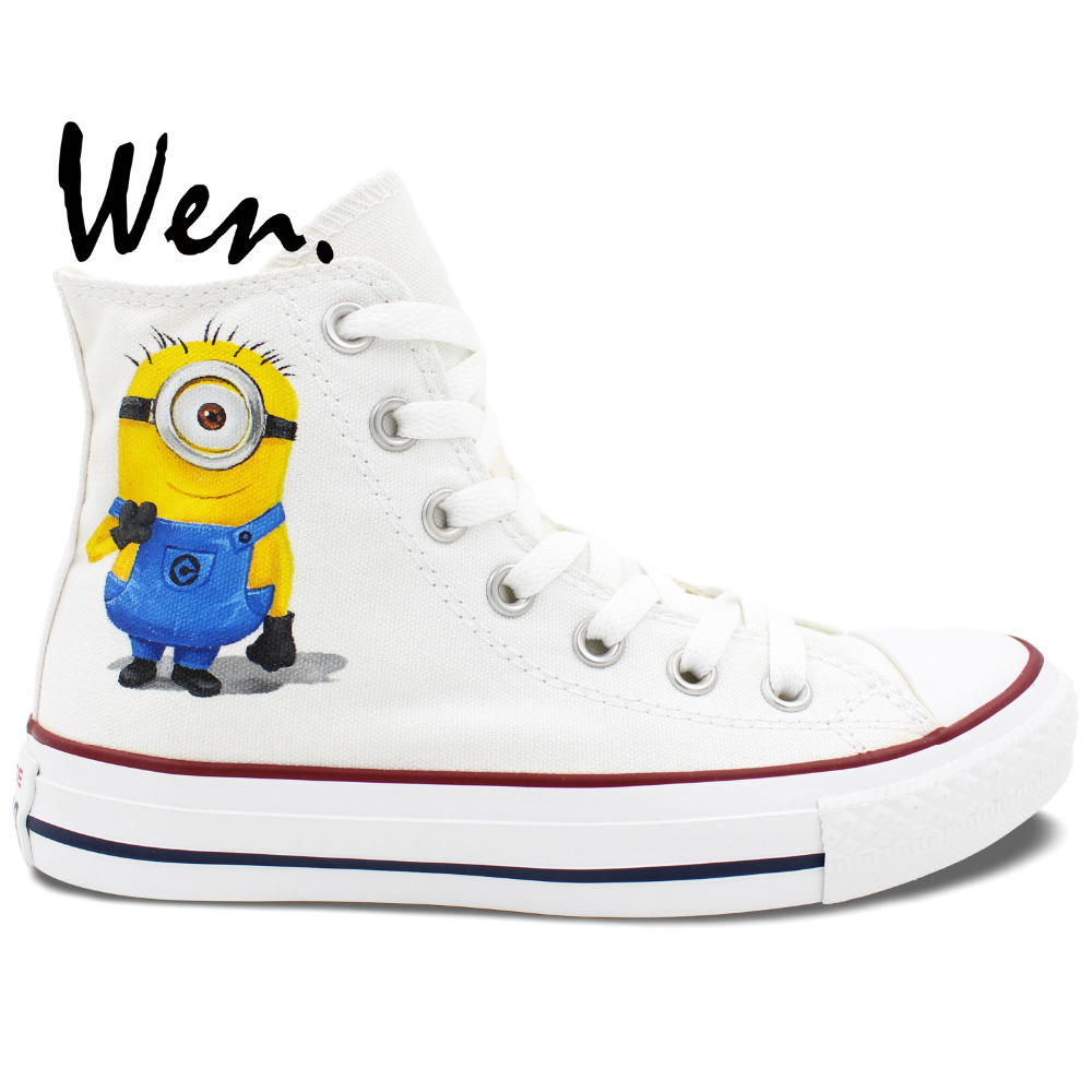 ФОТО Wen Hand Painted Shoes Custom Design White Unisex Casual Shoes Minions Despicable Me High Top Men Women's Canvas Shoes