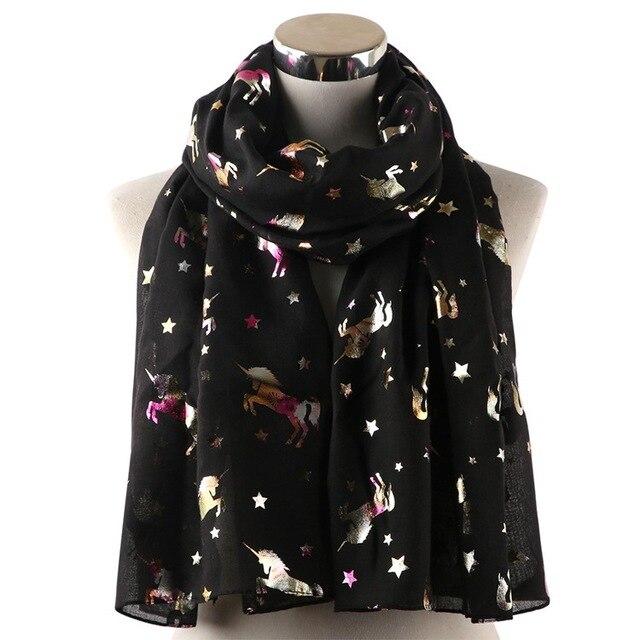 Fashion Women Unicorn Bronzing Foil Scarves Printed Thin Silk Neck Wraps Scarf High Quality Black Pink