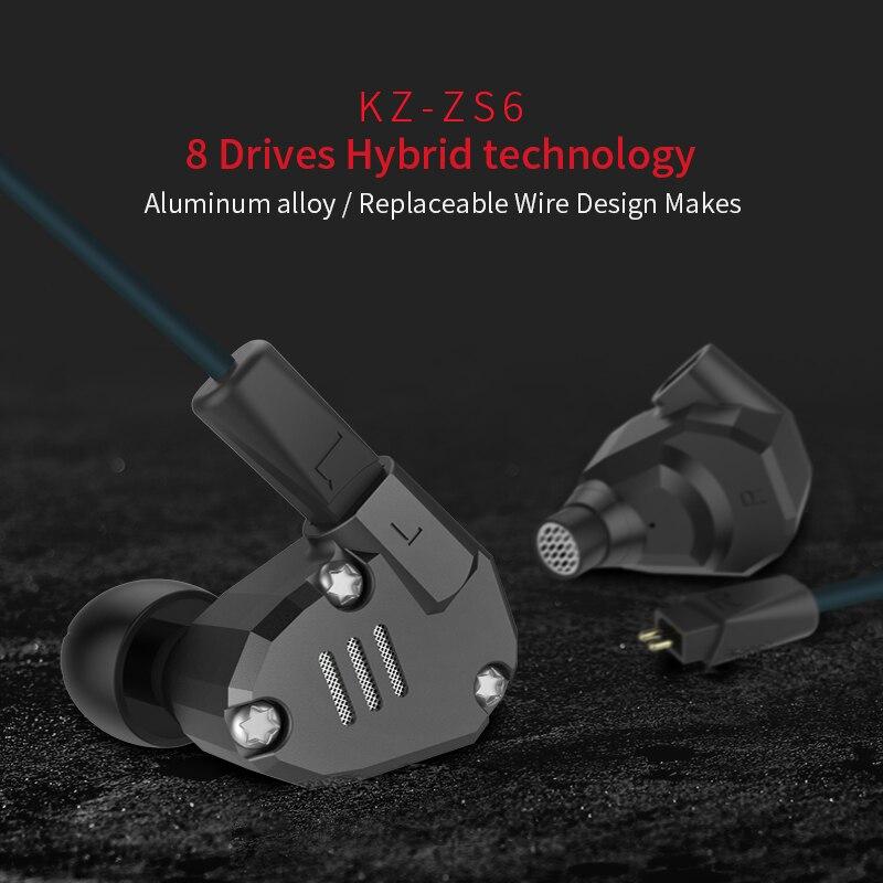 Original KZ ZS6 2DD + 2BA hybride écouteur tête téléphone DJ moniteur métal écouteurs HIFI casque écouteurs avec câble de mise à niveau KZ - 2