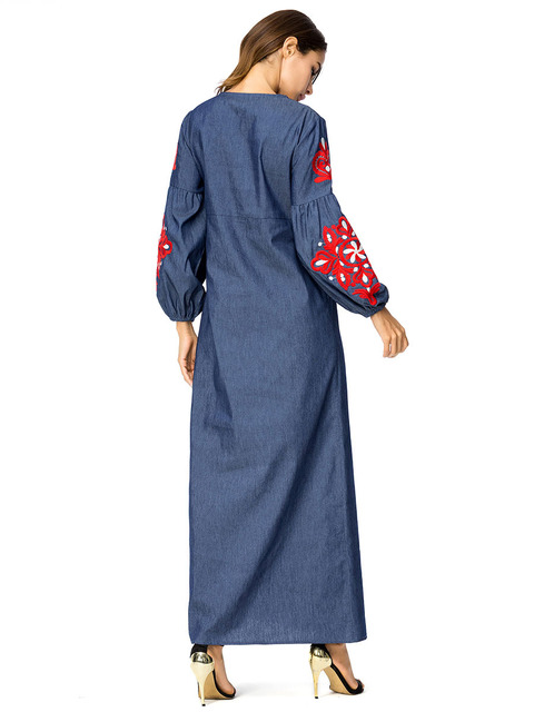 Women full sleeve embroidery dark blue Indonesia clothing 4XL kaftans 2