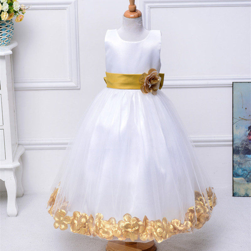 Rose Petal Girl Dress Bow Tie Long Dresses Wedding Flower Girls Ball Gown Party Prom Princess Dress Summer Kids Girl Clothes