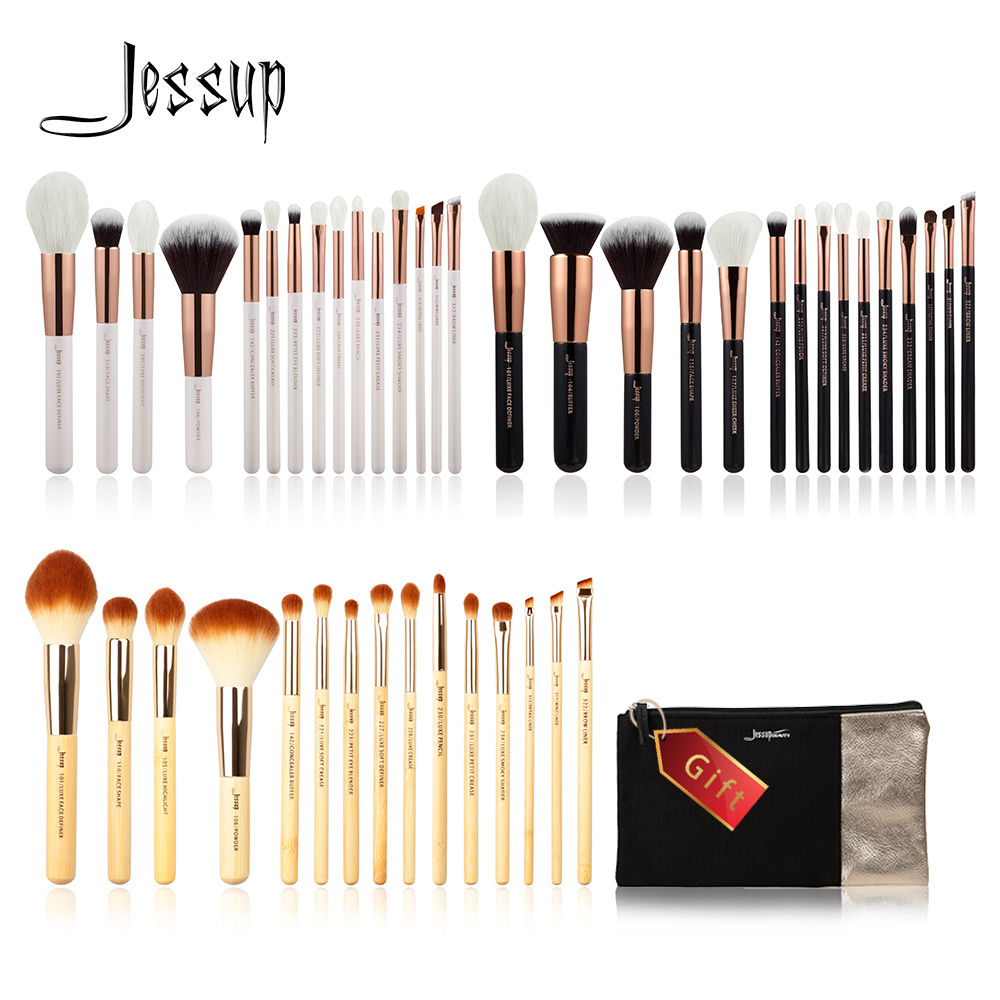 Jessup Buy 3 get 1 gift Makeup Brushes set Beauty Tools Make up Brush Foundation Powder Bamboo/Wood Cosmetic bag Definer Shader jessup brand 25pcs beauty bamboo professional makeup brushes set make up brush tools kit foundation powder blushes eye shader