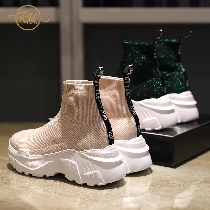 RY-RELAA femmes baskets 2018 plate-forme baskets mode femmes chaussures décontractées femmes chaussures de luxe femmes chaussures compensées chunky baskets