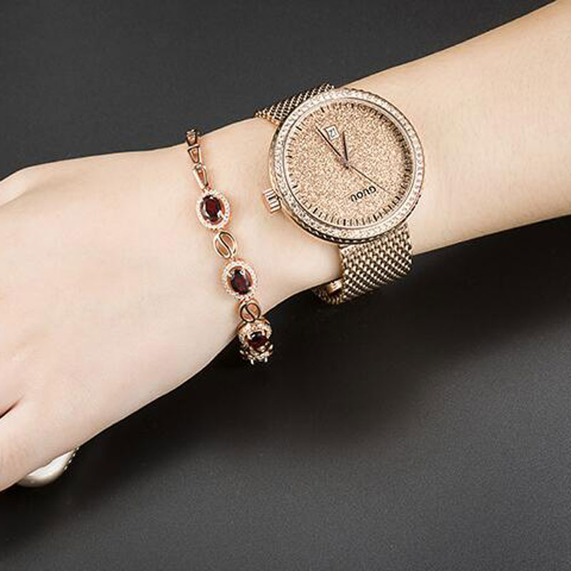 GUOU Watch Luxury Diamond Women Watches Fashion Casual Auto Date Ladies Quartz Watch Stainless Steel Clock saat relogio feminino tolasi brand fashion quartz women watch stainless steel clock women s watches casual date relogio feminino female wristwatches