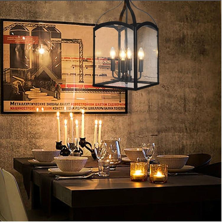 European Vintage Style Glass Wrought Iron Chandelier Retro Restaurant Light Foyer Decoration Light Free Shipping