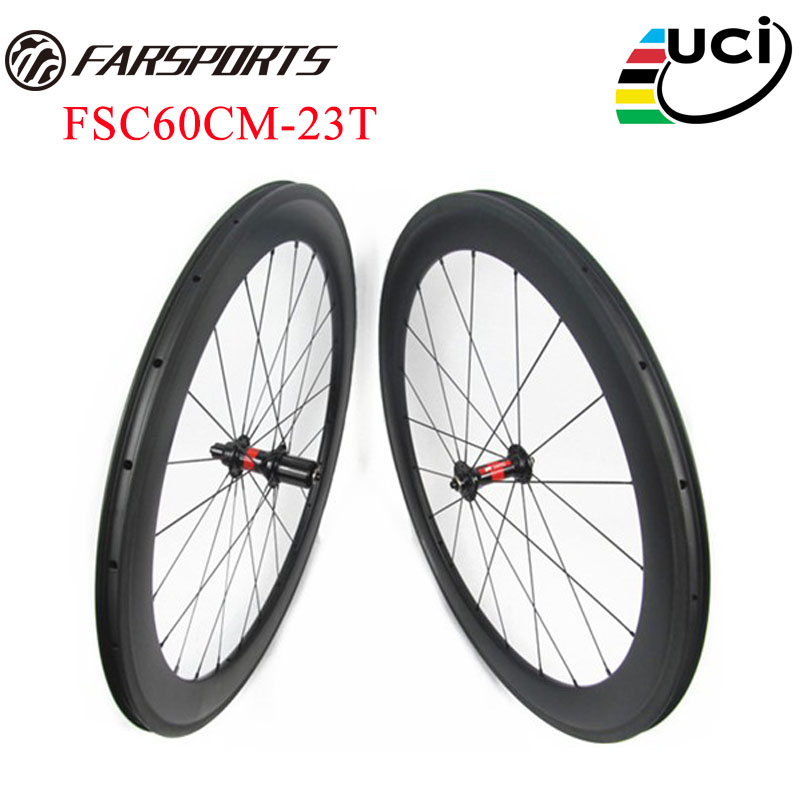 Super performance !! Top pro carbon wheels 60mm x 23mm clincher tubeless ready bike wheels ,  DT 240s hubs & Sapim spokes