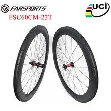 Super performance !! Top pro carbon wheels 60mm x 23mm clincher tubeless ready bike wheels ,  DT 240s hubs & Sapim spokes