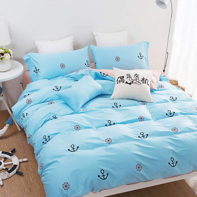 buy simple bedding set 100 cotton bed sheets twin full queen king size. Black Bedroom Furniture Sets. Home Design Ideas