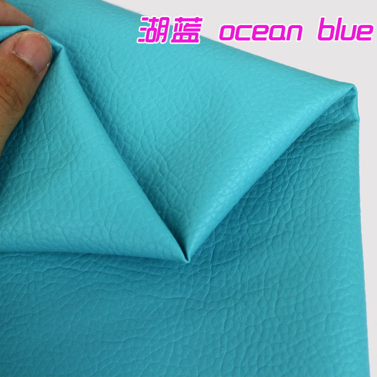 Ocean Blue Big Lychee Pattern Pu Synthetic Leather Faux