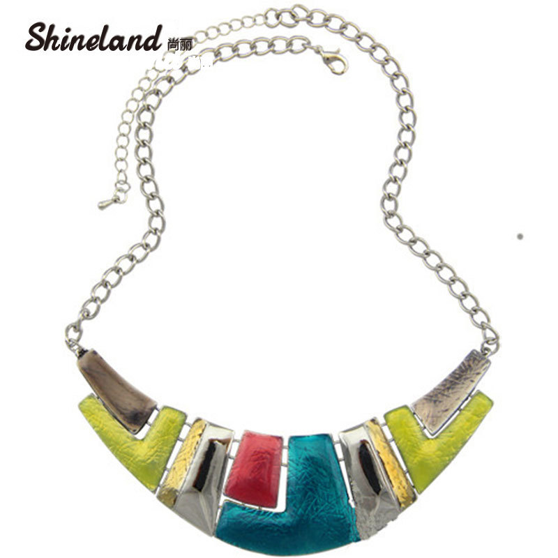 Shineland Fashion Jewelry 2018 Women Necklace Ethnic Silver Color Colorful Enamel Chunky Statement Choker Necklace pure color velvet six pieces thin choker necklace