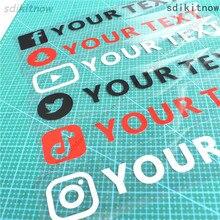 사용자 정의 텍스트 웹 사이트 전화 FACEBOOK Instagram twitter tiktok YouTube snapchat VK 이름 NICKNAME Window Decal PVC 자동차 바디 스티커