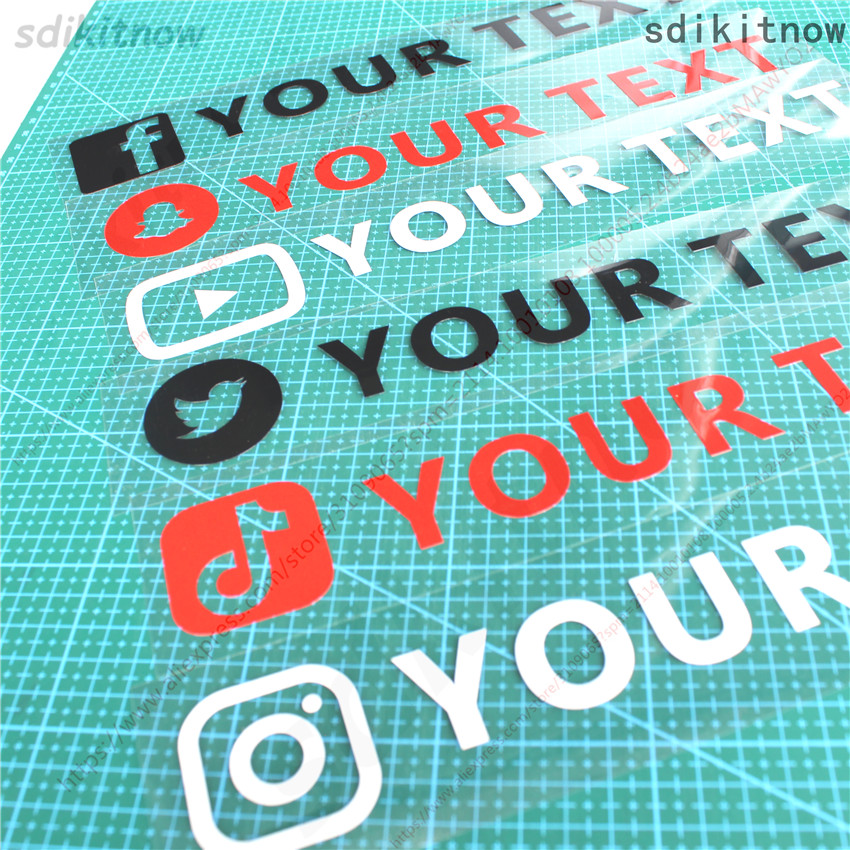 Pegatina de cuerpo de coche a prueba de agua de PVC, con texto personalizado, FACEBOOK, Instagram, twitter, tiktok, YouTube, snapchat, VK