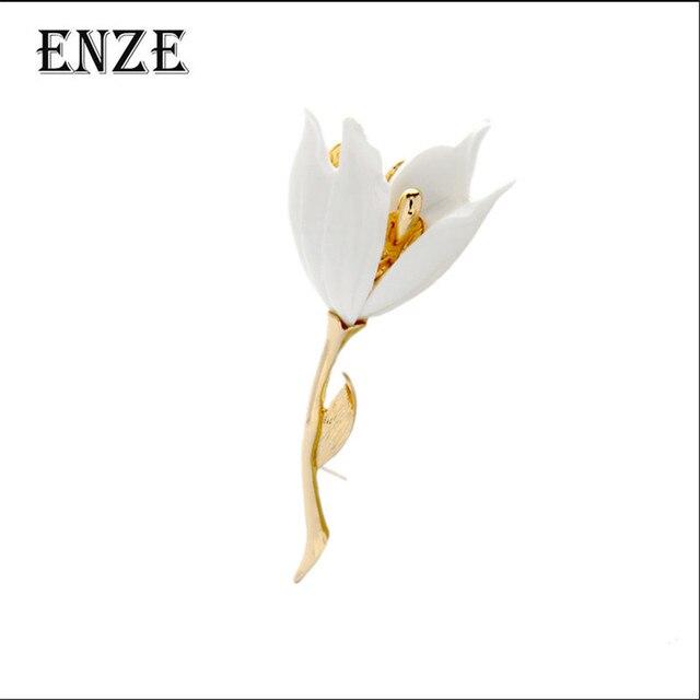 Enze Gratis Pengiriman Fashion Wanita Perhiasan Tulip Bros Bunga Hitam Putih Merah Tiga Warna Elegan Retro Pakaian Aksesoris
