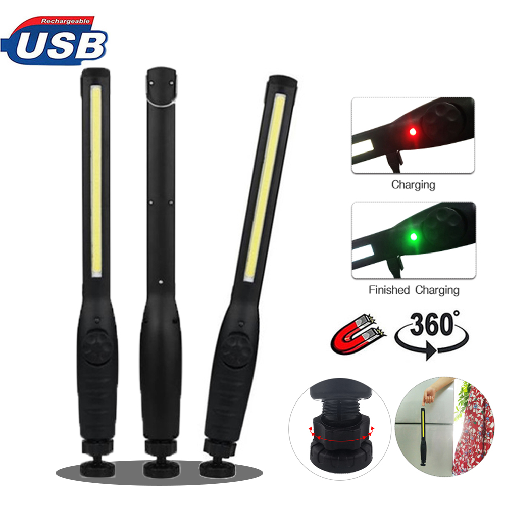 USB Rechargeable Portable COB Flashlight Torch LED Work Light Magnetic Lanterna Hook Hanging Lamp Torch for Car Repair Camping 4 in 1 led flashlight magnetic work light rechargeable stand hanging swivel hook rotation power bank torch lamp mfbs