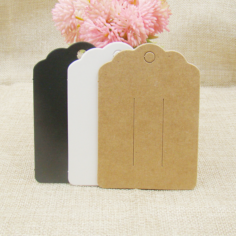 ZerongE Jewelry White/kraft/black Paper Cardboard Hair Clip Hair Claws Blank Card 100pcs Per Lot