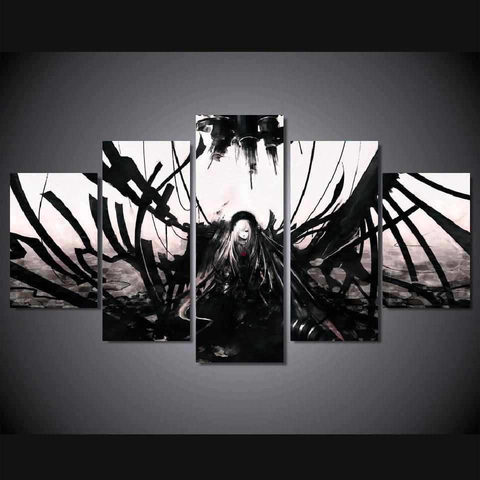 5 panels wall art anime angel black white dark 5 pieces paintings canvas poster unframed 9004 in painting calligraphy from home garden on