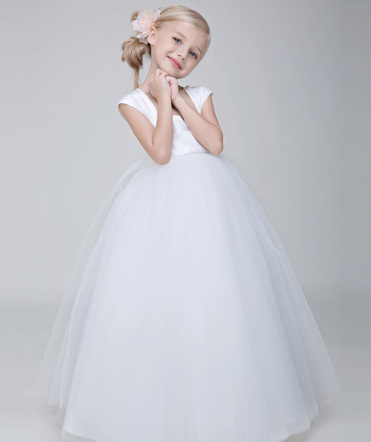 ФОТО A-Line Flower Girls Dresses For Wedding Gowns White  Kids Prom Dresses Tulle  Glitz Pageant Dresses for Little Girls