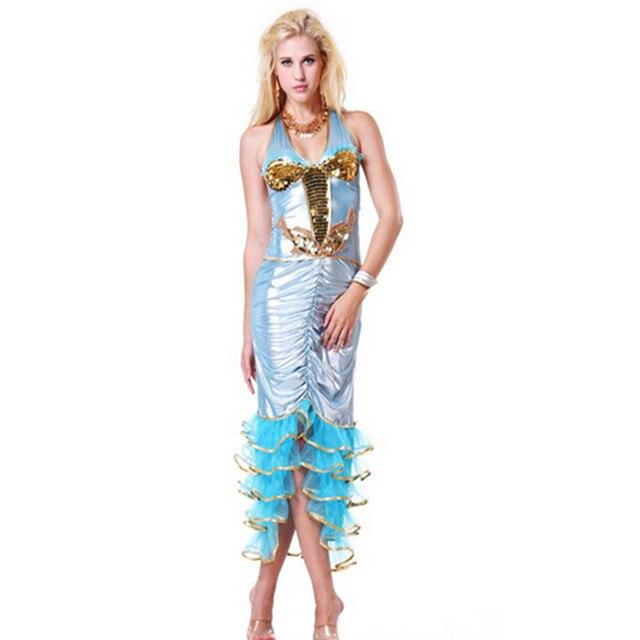 Sexy Sequin Mermaid Dress Halloween Night club DS Marine party Dress  Masquerade clothing Adult Ariel princess Cosplay Costume 25f4780bbc62