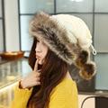 2017 Женщины Шерсть Теплый Мех Кролика Толщиной Прекрасный Монголии Этнических Женщин Вязаные Шапки Зимние Национальные Шапки