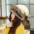 2017 de Las Nuevas Mujeres de Lana de Piel de Conejo Caliente Grueso Bonito Mongolia Étnica Femenina Sombreros de Invierno de Punto Caps Nacionales