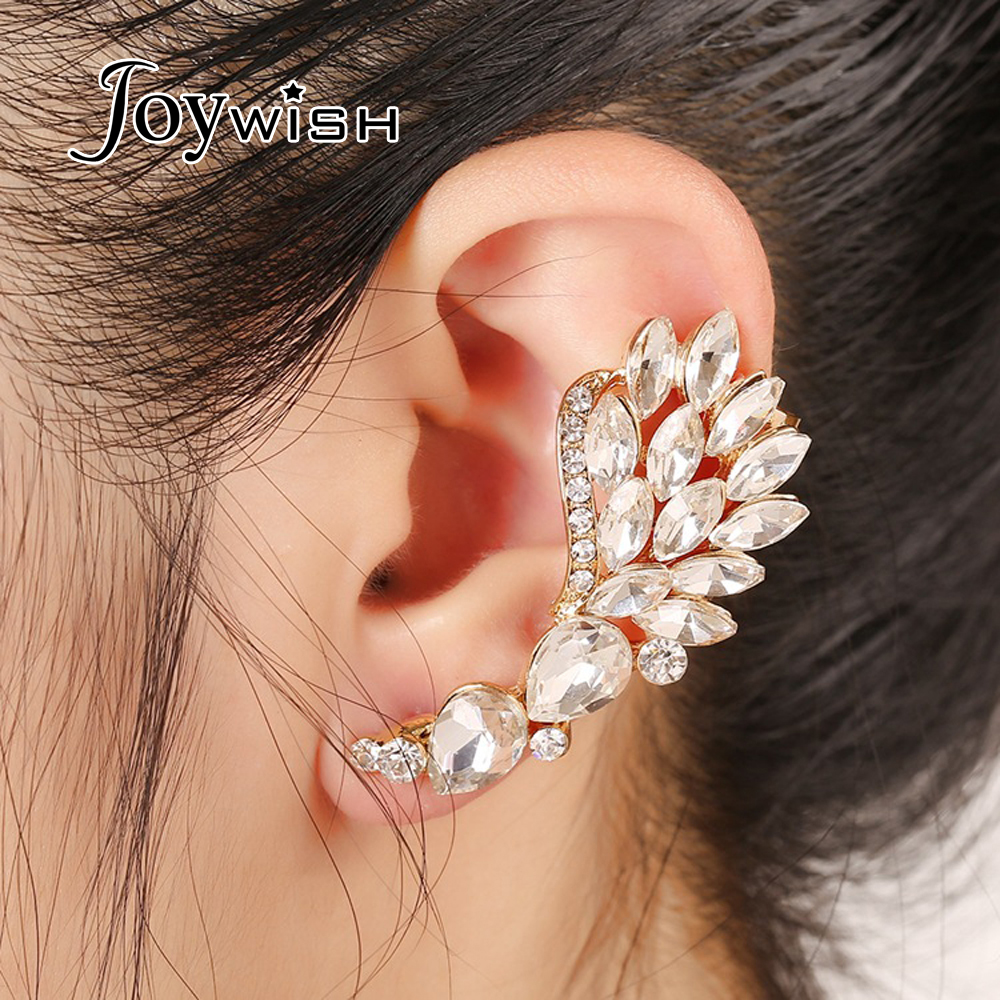 1pc New Luxury Goldcolor Silver Color With Full Rhinestone Flower Cuff  Stud Earrings Ear
