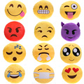 1pcs 32cm Emoji Pillow Smiley Emoticon Plush Toy Large Sofa Cushion Decorations Yellow Round Pillow Stuffed Plush Toy Doll