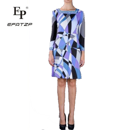 EFATZP Promotion Free shipping Silk Half Summer Dress Autumn Geometry Fancy Slim Dress Fashion Knitted Elastic