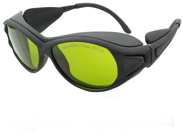 multi-wavelengths laser safety eyewear (190-420nm & 850-1700nm O.D 4+ CE ) + black hard box + cleanning cloth
