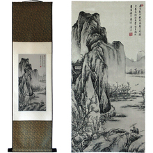Tangfoo Antique Chinese Characteristic Scroll Paintings Silk Landscape Painting National Treasure Classic Wall Picture Hanging