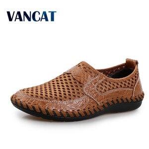 Image 1 - 2019 letnie oddychające buty z siatką męskie obuwie codzienne oryginalne skórzane Slip On marka moda letnie buty człowiek miękkie wygodne