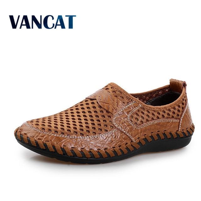 2019 letnie oddychające buty z siatką męskie obuwie codzienne oryginalne skórzane Slip On marka moda letnie buty człowiek miękkie wygodne