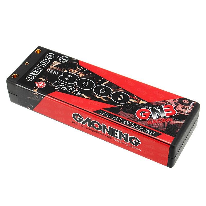 แบตเตอรี่ Lipo Gaoneng 7.4 V 8000 mAh 2S2P 120C 59.2WH Lipo แบตเตอรี่สำหรับ 1/10 RC รถ-ใน ชิ้นส่วนและอุปกรณ์เสริม จาก ของเล่นและงานอดิเรก บน   1