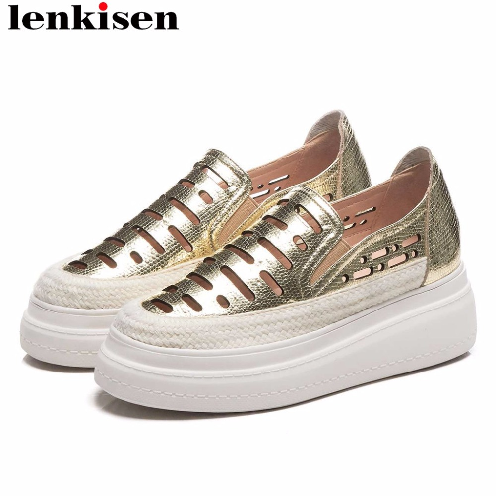 Lenkisen full grain leather flat platform round toe slip on loafers high bottom concise clubwear campus vulcanized shoes L67Lenkisen full grain leather flat platform round toe slip on loafers high bottom concise clubwear campus vulcanized shoes L67