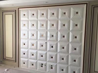 Gloednieuwe 3D PU Lederen wandpaneel 3d wandpanelen art TV kamer bank backgroumd muur decor stickers muursticker pack van 10 tegels