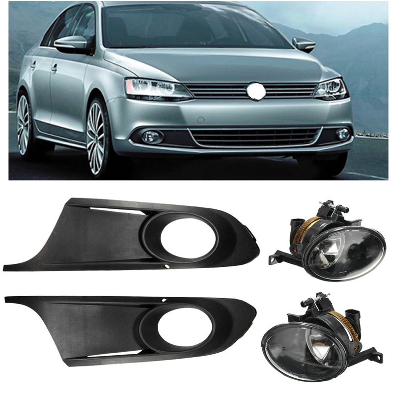 ФОТО 1 Set Front Fog Lights With Racing Grills & Wiring Harness Switch Fog Light Auto Accessories For VW/Volkswagen 5C6 853 665 A